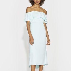 •Halston• Off Shoulder Flounce Dress